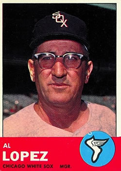 1963 Topps Baseball Cards      458     Al Lopez MG