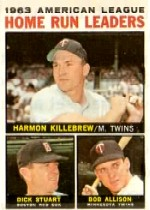 1964 Topps Baseball Cards      010      AL Home Run Leaders-Harmon Killebrew-Dick Stuart-Bob Allison