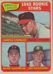 1965 Topps Baseball Cards      577     Rookie Stars-Darold Knowles-Don Buschhorn RC-Richie Scheinblum RC SP
