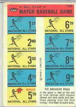 1966 Fleer AS Match Game Baseball Cards