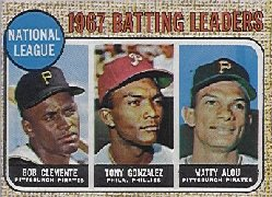 1968 Topps Baseball Cards      001       NL Batting Leaders-Roberto Clemente-Tony Gonzalez-Matty Alou