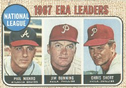 1968 Topps Baseball Cards      007       NL ERA Leaders-Phil Niekro-Jim Bunning-Chris Short