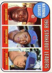 1969 Topps Baseball Cards      012      NL Strikeout Leaders-Bob Gibson-Fergie Jenkins-Bill Singer
