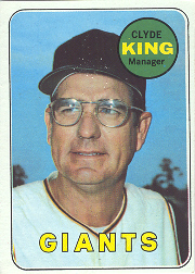 1969 Topps Baseball Cards      274     Clyde King MG