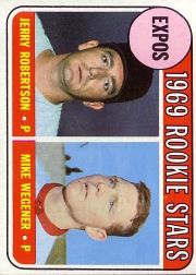 1969 Topps Baseball Cards      284     Rookie Stars-Jerry Robertson RC-Mike Wegener RC