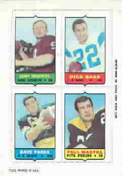 1969 Topps Four-in-One Inserts Football Cards
