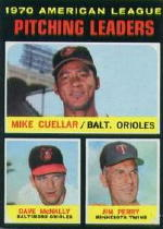 1971 Topps Baseball Cards      069      Mike Cuellar/Dave McNally/Jim Perry LL