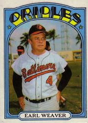 1972 Topps Baseball Cards      323     Earl Weaver MG