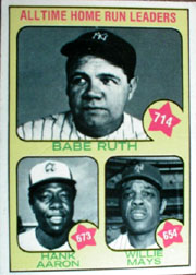 1973 Topps Baseball Cards      001       Babe Ruth/Hank Aaron/Willie Mays HR