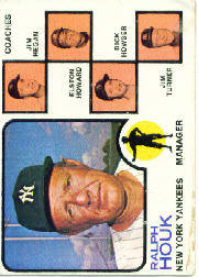 1973 Topps Baseball Cards      116A    Ralph Houk MG/Jim Hegan/Elston Howard/Dick Howser/Jim Turner Solid Background