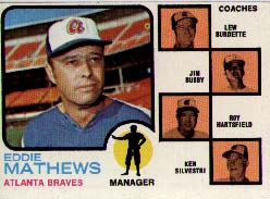 1973 Topps Baseball Cards      237B    Eddie Mathews MG/Lew Burdette/Jim Busby/Roy Hartsfield/Ken Silvestri w/o Ear