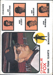 1973 Topps Baseball Cards      252A    Charlie Fox MG/Joe Amalfitano/Andy Gilbert/Don McMahon/John McNamara Orange Background