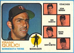 1973 Topps Baseball Cards      049A     Frank Quilici MG/Vern Morgan/Bob Rodgers/Ralph Rowe/Al Worthington Solid Background