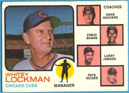 1973 Topps Baseball Cards      081B     W.Lockman MG /Ernie Banks/Hank Aguirre/Larry Jansen/Pete Reiser Natural Background