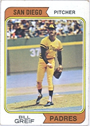 1974 Topps Baseball Cards      102A    Bill Greif SD