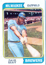 1974 Topps Baseball Cards      012      Dave May