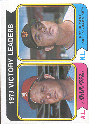 1974 Topps Baseball Cards      205     Wilbur Wood/Ron Bryant LL