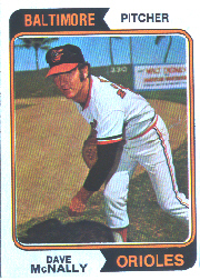 1974 Topps Baseball Cards      235     Dave McNally