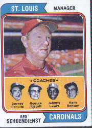 1974 Topps Baseball Cards      236     Red Schoendienst MG
