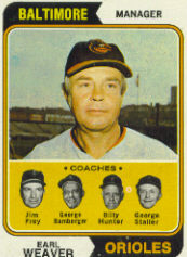 1974 Topps Baseball Cards      306     Earl Weaver MG