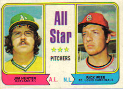 1974 Topps Baseball Cards      339     Jim Hunter/Rick Wise AS