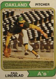 1974 Topps Baseball Cards      369     Paul Lindblad