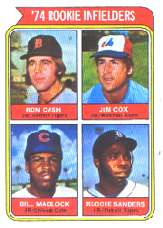 1974 Topps Baseball Cards      600     Ron Cash/Jim Cox/Bill Madlock/Reggie Sanders RC