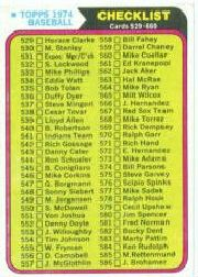 1974 Topps Baseball Cards      637     Checklist 529-660
