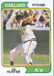 1974 Topps Baseball Cards      007       Jim Hunter