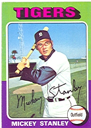 1975 Topps Mini Baseball Cards      141     Mickey Stanley