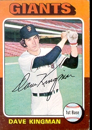 1975 Topps Mini Baseball Cards      156     Dave Kingman