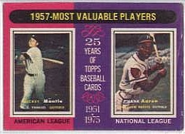 1975 Topps Mini Baseball Cards      195     Mickey Mantle/Hank Aaron MVP
