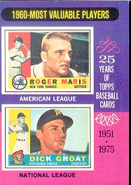 1975 Topps Baseball Cards      198     Roger Maris/Dick Groat MVP