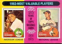 1975 Topps Mini Baseball Cards      201     Elston Howard/Sandy Koufax MVP