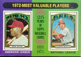 1975 Topps Mini Baseball Cards      210     Rich Allen/Johnny Bench MVP