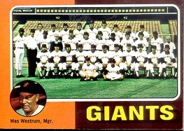 1975 Topps Mini Baseball Cards      216     San Francisco Giants CL/Wes Westrum
