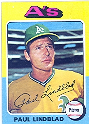 1975 Topps Mini Baseball Cards      278     Paul Lindblad
