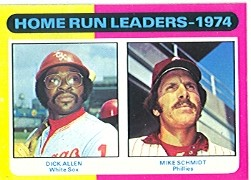 1975 Topps Mini Baseball Cards      307     Dick Allen/Mike Schmidt LL