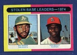 1975 Topps Mini Baseball Cards      309     Bill North/Lou Brock LL