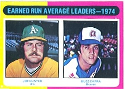 1975 Topps Mini Baseball Cards      311     Jim Hunter/Buzz Capra LL