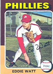 1975 Topps Mini Baseball Cards      374     Eddie Watt