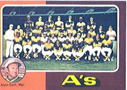 1975 Topps Baseball Cards      561     Oakland Athletics CL/Alvin Dark