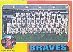 1975 Topps Mini Baseball Cards      589     Atlanta Braves CL/Clyde King