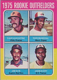 1975 Topps Mini Baseball Cards      616     Dave Augustine/Pepe Mangual/John Scott/Jim Rice RC