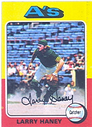 1975 Topps Mini Baseball Cards      626     Larry Haney UER