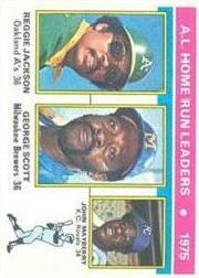 1976 Topps Baseball Cards      194     Reggie Jackson/George Scott/Lee Mayberry LL