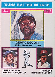 1976 Topps Baseball Cards      196     George Scott/Lee Mayberry/Fred Lynn LL