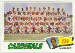 1977 Topps Baseball Cards      183     St.Louis Cardinals CL/Vern Rapp