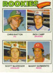 1977 Topps Baseball Cards      475     Chris Batton/Rick Camp/Scott McGregor/Manny Sarmiento RC