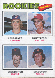 1977 Topps Baseball Cards      489     Len Barker/Randy Lerch/Greg Minton/Mike Overy RC